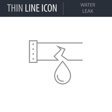 Symbol of Water Leak. Thin line Icon of Sanitary Engineering. Stroke Pictogram Graphic for Web Design. Quality Outline Vector Symbol Concept. Premium Mono Linear Beautiful Plain Laconic Logo