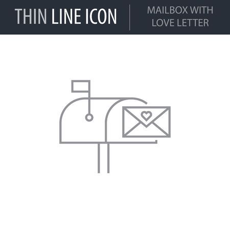 Symbol of Mailbox With Love Letter. Thin line Icon of Saint Valentin Lineal. Stroke Pictogram Graphic for Web Design. Quality Outline Vector Symbol Concept. Premium Mono Linear Beautiful Ilustração