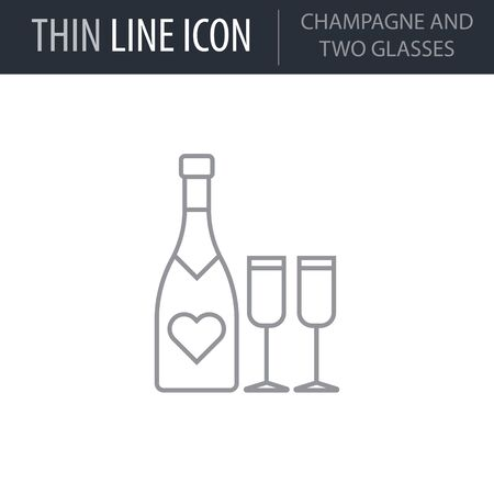 Symbol of Champagne And Two Glasses. Thin line Icon of Saint Valentin Lineal. Stroke Pictogram Graphic for Web Design. Quality Outline Vector Symbol Concept. Premium Mono Linear Beautiful Ilustração