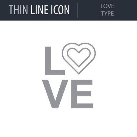 Symbol of Love Type. Thin line Icon of Saint Valentin Lineal. Stroke Pictogram Graphic for Web Design. Quality Outline Vector Symbol Concept. Premium Mono Linear Beautiful Plain Laconic Logo