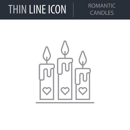 Symbol of Romantic Candles. Thin line Icon of Saint Valentin Lineal. Stroke Pictogram Graphic for Web Design. Quality Outline Vector Symbol Concept. Premium Mono Linear Beautiful Plain