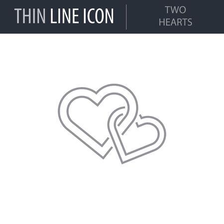 Symbol of Two Hearts. Thin line Icon of Saint Valentin Lineal. Stroke Pictogram Graphic for Web Design. Quality Outline Vector Symbol Concept. Premium Mono Linear Beautiful Plain Laconic Logo Ilustração