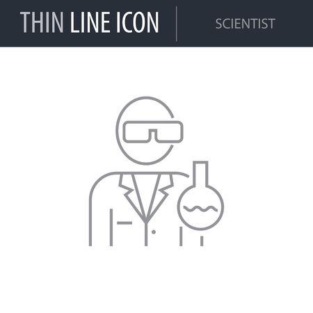 Symbol of Scientist. Thin line Icon of Scientific Study. Stroke Pictogram Graphic for Web Design. Quality Outline Vector Symbol Concept. Premium Mono Linear Beautiful Plain Laconic Logo Ilustração
