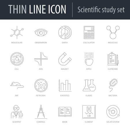 Icons Set of Scientific Study. Symbol of Intelligent Thin Line Image Pack. Stroke Pictogram Graphic for Web Design. Quality Outline Vector Symbol Concept Collection. Premium Mono Linear