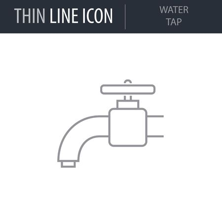 Symbol of Water Tap. Thin line Icon of Sanitary Engineering. Stroke Pictogram Graphic for Web Design. Quality Outline Vector Symbol Concept. Premium Mono Linear Beautiful Laconic