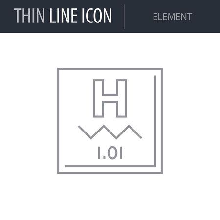Symbol of Element. Thin line Icon of Scientific Study. Stroke Pictogram Graphic for Web Design. Quality Outline Vector Symbol Concept. Premium Mono Linear Beautiful Plain Laconic Logo