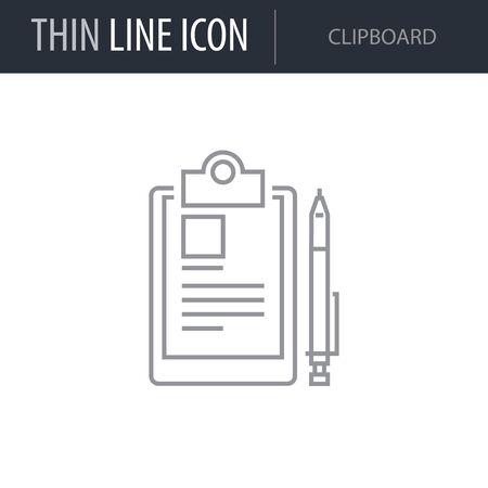 Symbol of Clipboard. Thin line Icon of Scientific Study. Stroke Pictogram Graphic for Web Design. Quality Outline Vector Symbol Concept. Premium Mono Linear Beautiful Plain Laconic Logo