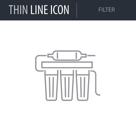Symbol of Filter. Thin line Icon of Sanitary Engineering. Stroke Pictogram Graphic for Web Design. Quality Outline Vector Symbol Concept. Premium Mono Linear Beautiful Plain Laconic Logo