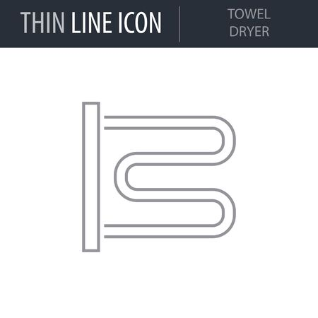 Symbol of Towel Dryer. Thin line Icon of Sanitary Engineering. Stroke Pictogram Graphic for Web Design. Quality Outline Vector Symbol Concept. Premium Mono Linear Beautiful Plain Laconic Logo