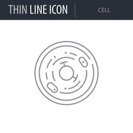 Symbol of Cell. Thin line Icon of Scientific Study. Stroke Pictogram Graphic for Web Design. Quality Outline Vector Symbol Concept. Premium Mono Linear Beautiful Plain Laconic Logo