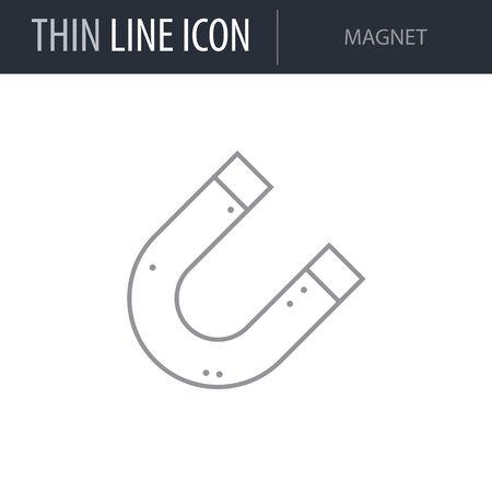Symbol of Magnet. Thin line Icon of Scientific Study. Stroke Pictogram Graphic for Web Design. Quality Outline Vector Symbol Concept. Premium Mono Linear Beautiful Plain Laconic Logo Illustration