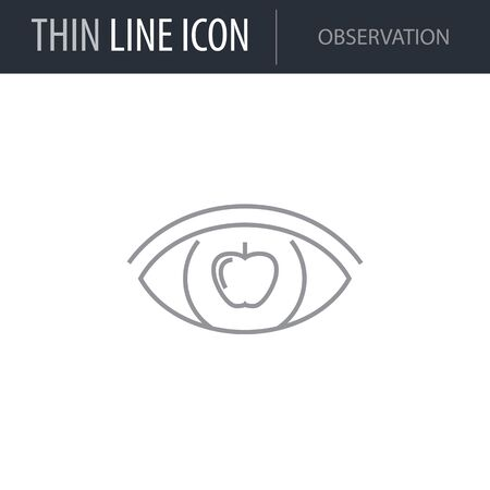 Symbol of Observation. Thin line Icon of Scientific Study. Stroke Pictogram Graphic for Web Design. Quality Outline Vector Symbol Concept. Premium Mono Linear Beautiful Plain Laconic Logo Illustration