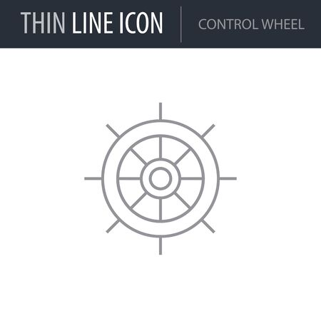 Symbol of Control Wheel. Thin line Icon of Sea And Beach. Stroke Pictogram Graphic for Web Design. Quality Outline Vector Symbol Concept. Premium Mono Linear Beautiful Plain Laconic Logo