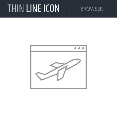 Symbol of Browser. Thin line Icon of Seo Elements. Stroke Pictogram Graphic for Web Design. Quality Outline Vector Symbol Concept. Premium Mono Linear Beautiful Plain Laconic Logo Ilustrace