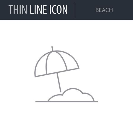 Symbol of Beach. Thin line Icon of Sea And Beach. Stroke Pictogram Graphic for Web Design. Quality Outline Vector Symbol Concept. Premium Mono Linear Beautiful Plain Laconic Logo