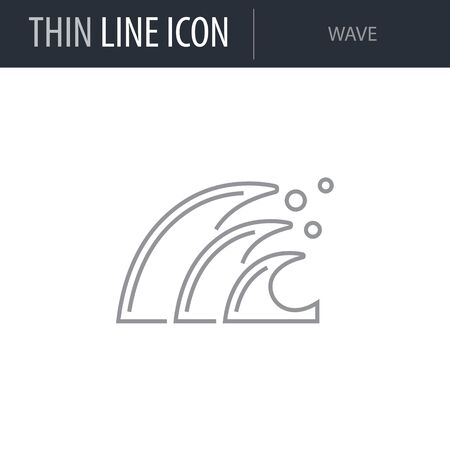 Symbol of Wave. Thin line Icon of Sea And Beach. Stroke Pictogram Graphic for Web Design. Quality Outline Vector Symbol Concept. Premium Mono Linear Beautiful Plain Laconic Logo