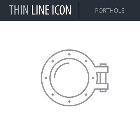 Symbol of Porthole. Thin line Icon of Sea And Beach. Stroke Pictogram Graphic for Web Design. Quality Outline Vector Symbol Concept. Premium Mono Linear Beautiful Plain Laconic Logo