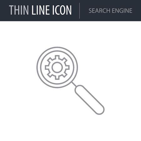 Symbol of Search Engine. Thin line Icon of Seo Elements. Stroke Pictogram Graphic for Web Design. Quality Outline Vector Symbol Concept. Premium Mono Linear Beautiful Plain Laconic Logo