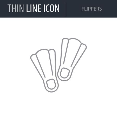 Symbol of Flippers. Thin line Icon of Sea And Beach. Stroke Pictogram Graphic for Web Design. Quality Outline Vector Symbol Concept. Premium Mono Linear Beautiful Plain Laconic Logo