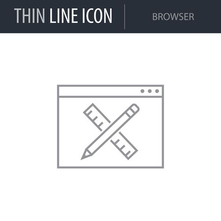 Symbol of Browser. Thin line Icon of Seo Elements. Stroke Pictogram Graphic for Web Design. Quality Outline Vector Symbol Concept. Premium Mono Linear Beautiful Plain