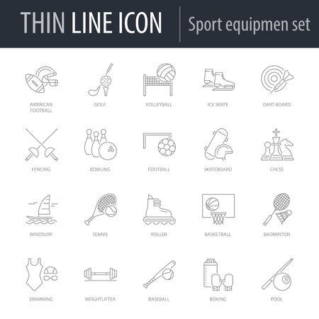 Symbol of Set of Sport Equipment. Thin line Icon of Set of Sport Equipment. Stroke Pictogram Graphic for Web Design. Quality Outline Vector Symbol Concept. Premium Mono Linear Beautiful Plain