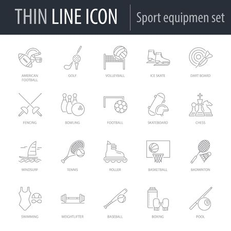 Symbol of Set of Sport Equipment. Thin line Icon of Set of Sport Equipment. Stroke Pictogram Graphic for Web Design. Quality Outline Vector Symbol Concept. Premium Mono Linear Beautiful Plain