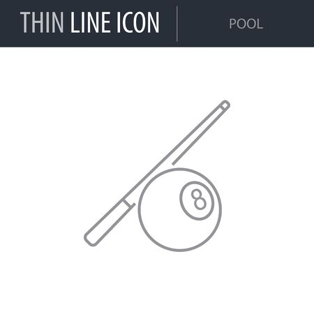 Symbol of Billiards and Pool. Thin line Icon of Set of Sport Equipment. Stroke Pictogram Graphic for Web Design. Quality Outline Vector Symbol Concept. Premium Mono Linear Beautiful Plain Laconic