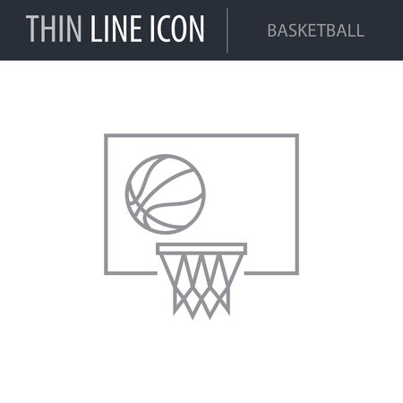 Symbol of Basketball. Thin line Icon of Set of Sport Equipment. Stroke Pictogram Graphic for Web Design. Quality Outline Vector Symbol Concept. Premium Mono Linear Beautiful Plain Laconic Logo
