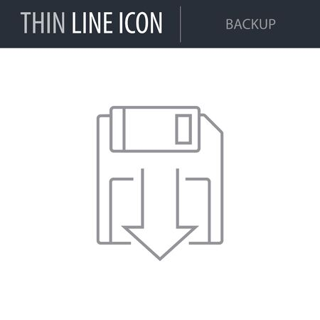Symbol of Backup. Thin line Icon of Seo Elements. Stroke Pictogram Graphic for Web Design. Quality Outline Vector Symbol Concept. Premium Mono Linear Beautiful Plain Laconic Logo