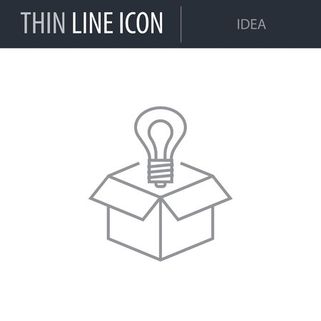 Symbol of Idea. Thin line Icon of Seo Elements. Stroke Pictogram Graphic for Web Design. Quality Outline Vector Symbol Concept. Premium Mono Linear Beautiful Plain Laconic Logo