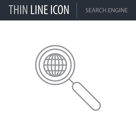 Symbol of Search Engine. Thin line Icon of Seo Elements. Stroke Pictogram Graphic for Web Design. Quality Outline Vector Symbol Concept. Premium Mono Linear Beautiful Plain Laconic