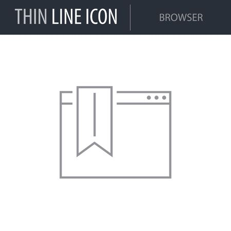 Symbol of Browser. Thin line Icon of Seo Elements. Stroke Pictogram Graphic for Web Design. Quality Outline Vector Symbol Concept. Premium Mono Linear Beautiful Plain Laconic Ilustrace