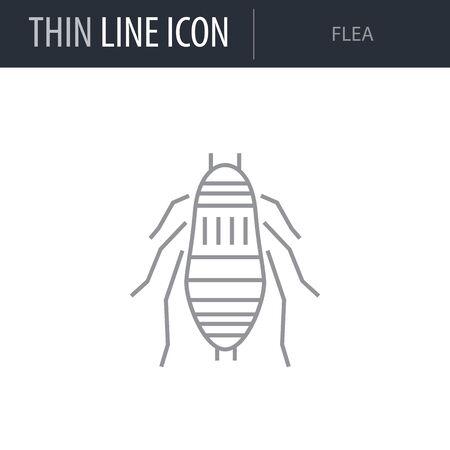 Symbol of Flea. Thin line Icon of Insect. Stroke Pictogram Graphic for Web Design. Quality Outline Vector Symbol Concept. Premium Mono Linear Beautiful Plain Laconic Logo