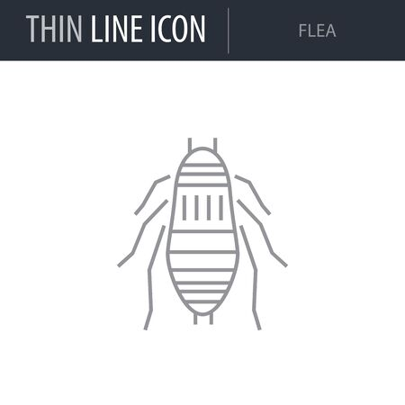 Symbol of Flea. Thin line Icon of Insect. Stroke Pictogram Graphic for Web Design. Quality Outline Vector Symbol Concept. Premium Mono Linear Beautiful Plain Laconic Logo