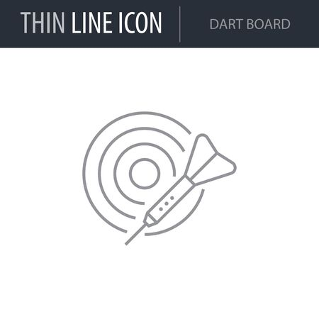 Symbol of Dart Board. Thin line Icon of Set of Sport Equipment. Stroke Pictogram Graphic for Web Design. Quality Outline Vector Symbol Concept. Premium Mono Linear Beautiful Plain Laconic Logo Illustration