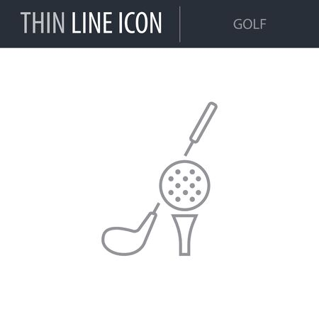 Symbol of Golf. Thin line Icon of Set of Sport Equipment. Stroke Pictogram Graphic for Web Design. Quality Outline Vector Symbol Concept. Premium Mono Linear Beautiful Plain Laconic Logo