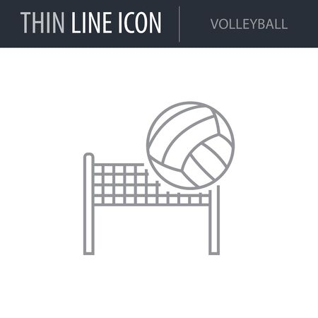 Symbol of Volleyball. Thin line Icon of Set of Sport Equipment. Stroke Pictogram Graphic for Web Design. Quality Outline Vector Symbol Concept. Premium Mono Linear Beautiful Plain Laconic Logo