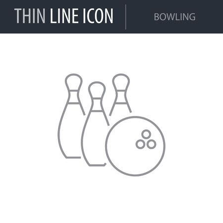 Symbol of Bowling. Thin line Icon of Set of Sport Equipment. Stroke Pictogram Graphic for Web Design. Quality Outline Vector Symbol Concept. Premium Mono Linear Beautiful Plain Laconic Logo