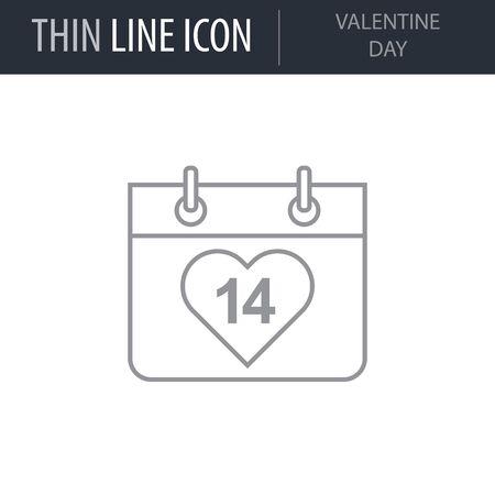 Symbol of Valentine Day. Thin line Icon of Saint Valentin Lineal. Stroke Pictogram Graphic for Web Design. Quality Outline Vector Symbol Concept. Premium Mono Linear Beautiful Plain Laconic Illustration