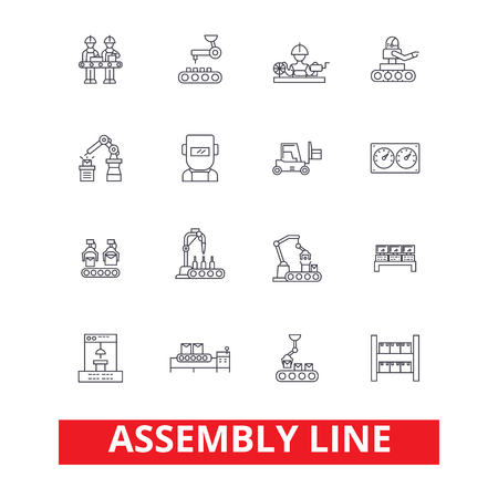Assembly line, factory, industry, manufacturing plant, workers, conveyor line icons. Editable strokes. Flat design vector illustration symbol concept. Linear signs isolated on white background