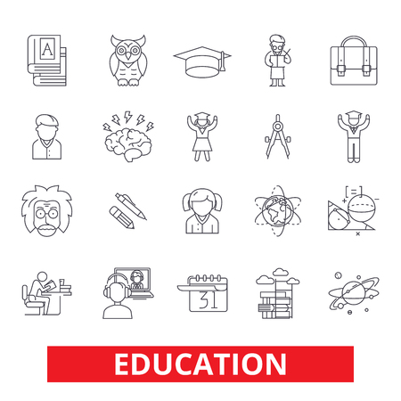 Education, online study, training, learning, webinar, school, university, course line icons. Editable strokes. Flat design vector illustration symbol concept. Linear signs isolated on white background Illustration