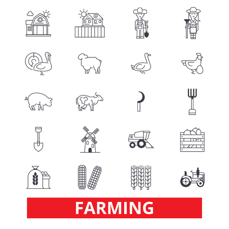 Farming, garden, plant, tractor, harvest, village farm, farmers, agriculture line icons. Editable strokes. Flat design vector illustration symbol concept. Linear signs isolated on white background Illustration