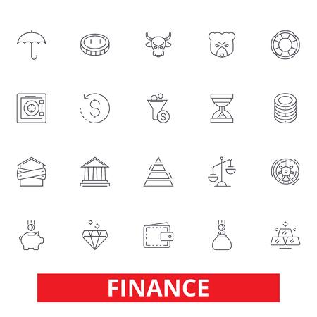 Financiën, geld besparen, investeerder, contant geld, bank, belegging, boekhouding, boekhouding lijn iconen. Bewerkbare strepen. Vlak ontwerp vector illustratie symbool concept. Lineaire tekens geïsoleerd op een witte achtergrond