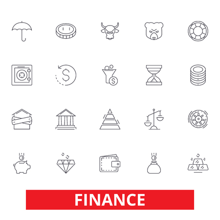 Finance, save money, investor, cash, bank, investment, accounting, bookkeeping line icons. Editable strokes. Flat design vector illustration symbol concept. Linear signs isolated on white background Illustration