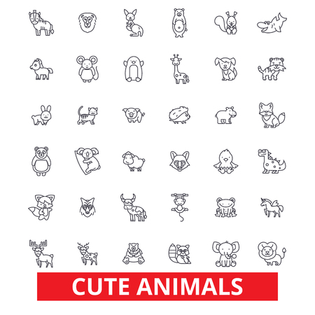 귀여운 재미 강아지 아기 동물, 고양이, 개, 올빼미, 원숭이, 토끼, 물고기, 테 디 베어 라인 아이콘. 편집 가능한 스트로크. 플랫 디자인 벡터 그림 기호