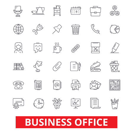 Business office, web, interface, email, calendar workplace, working, utensils line icons. Editable strokes. Flat design vector illustration symbol concept. Linear signs isolated on white background Illustration