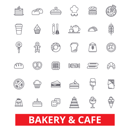 Bakery, cake,  pastry, cookies,  cafe, pie, chocolate, cooking, baking, dessert line icons. Editable strokes. Flat design vector illustration symbol concept. Linear signs isolated on white background Ilustração