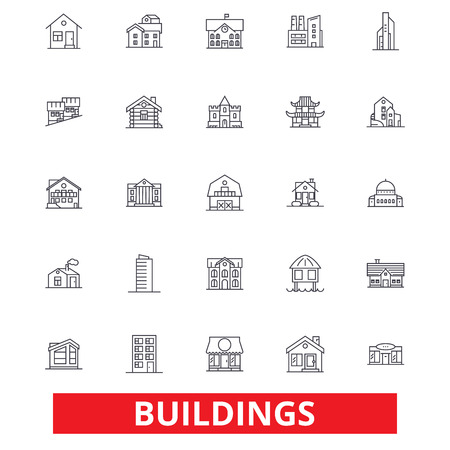 Buildings, houses, city, architecture, construction, office, real estate, home line icons. Editable strokes. Flat design vector illustration symbol concept. Linear signs isolated on white background
