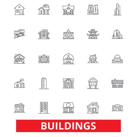 Gebäude, Häuser, Stadt, Architektur, Bau, Büro, Immobilien, Hauptlinie Ikonen. Bearbeitbare Striche Flaches Designvektorillustrations-Symbolkonzept. Lineare Zeichen getrennt auf weißem Hintergrund Standard-Bild - 78423731