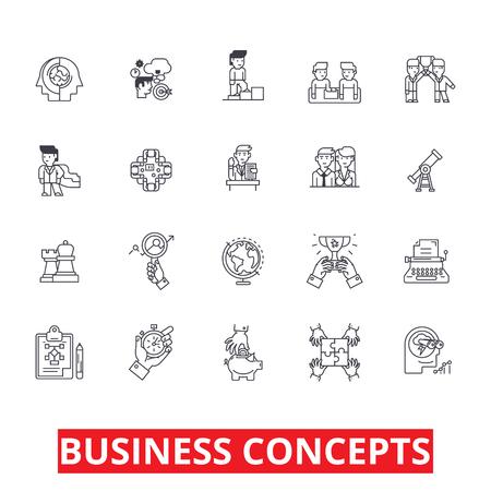 Business metafoor, ontmoeting, ideeën, gesprekken, team, management, strategie lijn iconen. Bewerkbare strepen. Vlak ontwerp vector illustratie symbool concept. Lineaire tekens geïsoleerd op een witte achtergrond